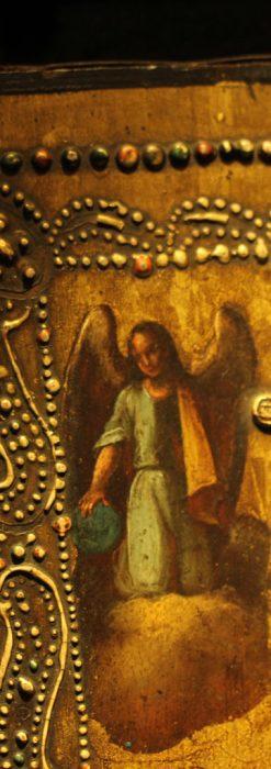 聖母マリアとイエスキリスト描いた1858年のイコン・聖画像-A0214-6