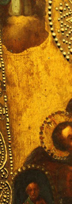 聖母マリアとイエスキリスト描いた1858年のイコン・聖画像-A0214-7