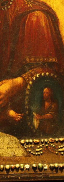 聖母マリアとイエスキリスト描いた1858年のイコン・聖画像-A0214-8