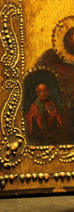 聖母マリアとイエスキリスト描いた1858年のイコン・聖画像-A0214-9