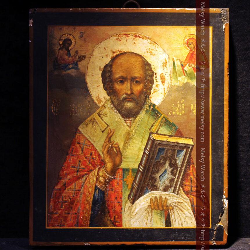 聖ニコラオ・ニコラウスを描いた19世紀のイコン・聖画像-A0215-1