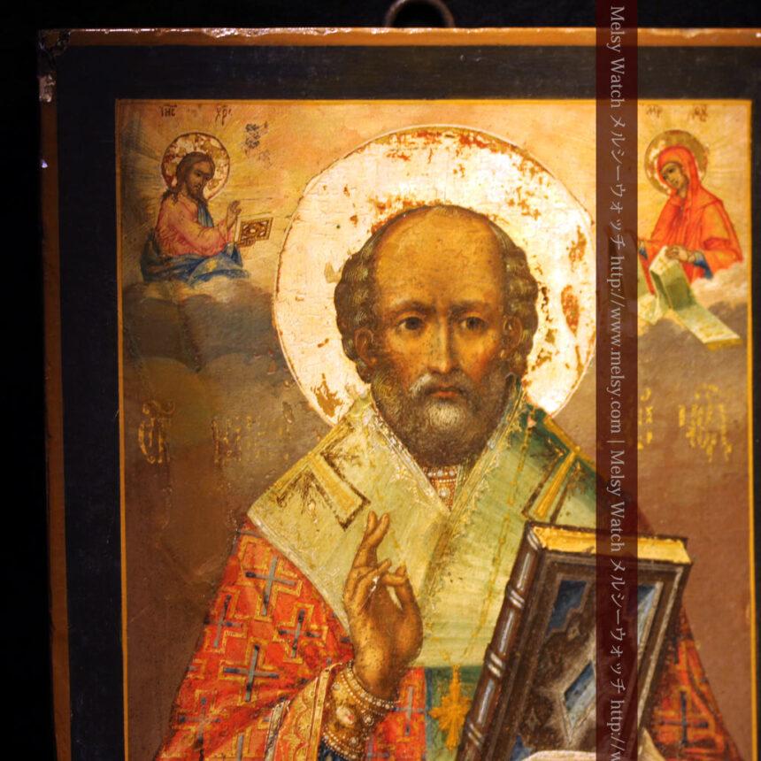 聖ニコラオ・ニコラウスを描いた19世紀のイコン・聖画像-A0215-3