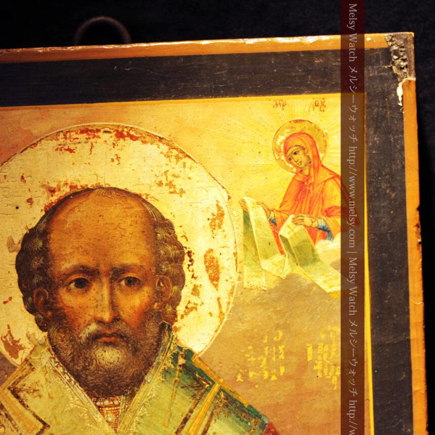 聖ニコラオ・ニコラウスを描いた19世紀のイコン・聖画像-A0215-6