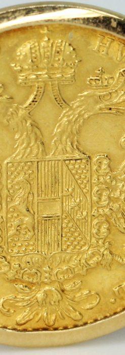 オーストリアの1915年ダカット金貨を使った金無垢カフス-A0216-7