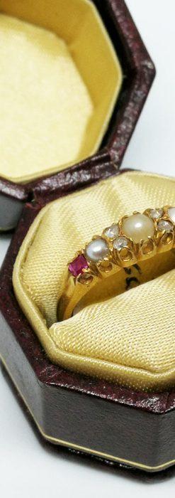 真珠とガーネットの金無垢指輪-A0219-1