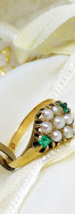 真珠とエメラルドの金無垢指輪-A0220-1