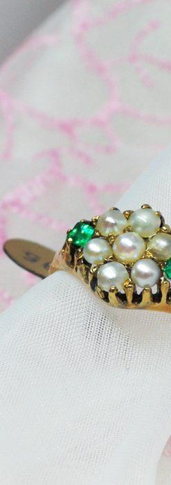 真珠とエメラルドの金無垢指輪-A0220-2