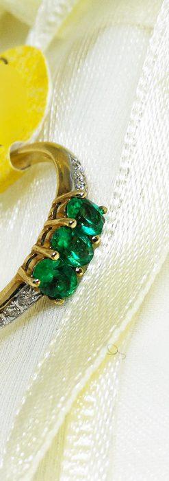 エメラルドとダイヤモンドの金無垢指輪-A0222-1