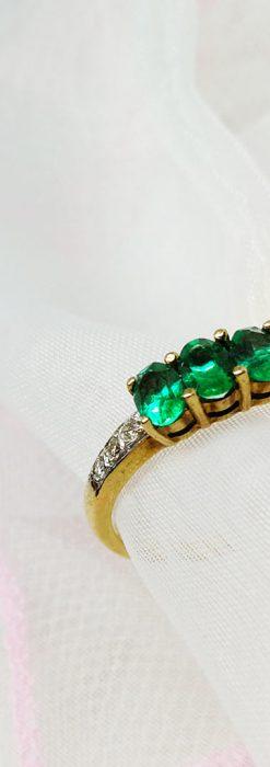 エメラルドとダイヤモンドの金無垢指輪-A0222-2