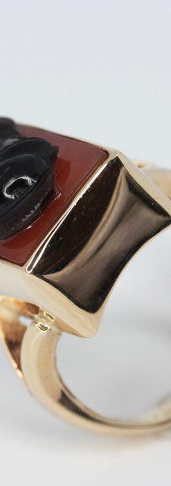 ローマ戦士のカメオの金無垢リング-A0231-10