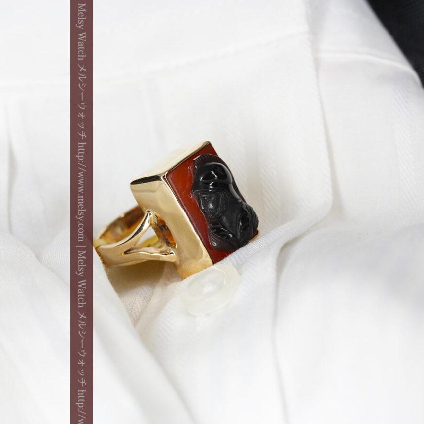 ローマ戦士のカメオの金無垢リング-A0231-5