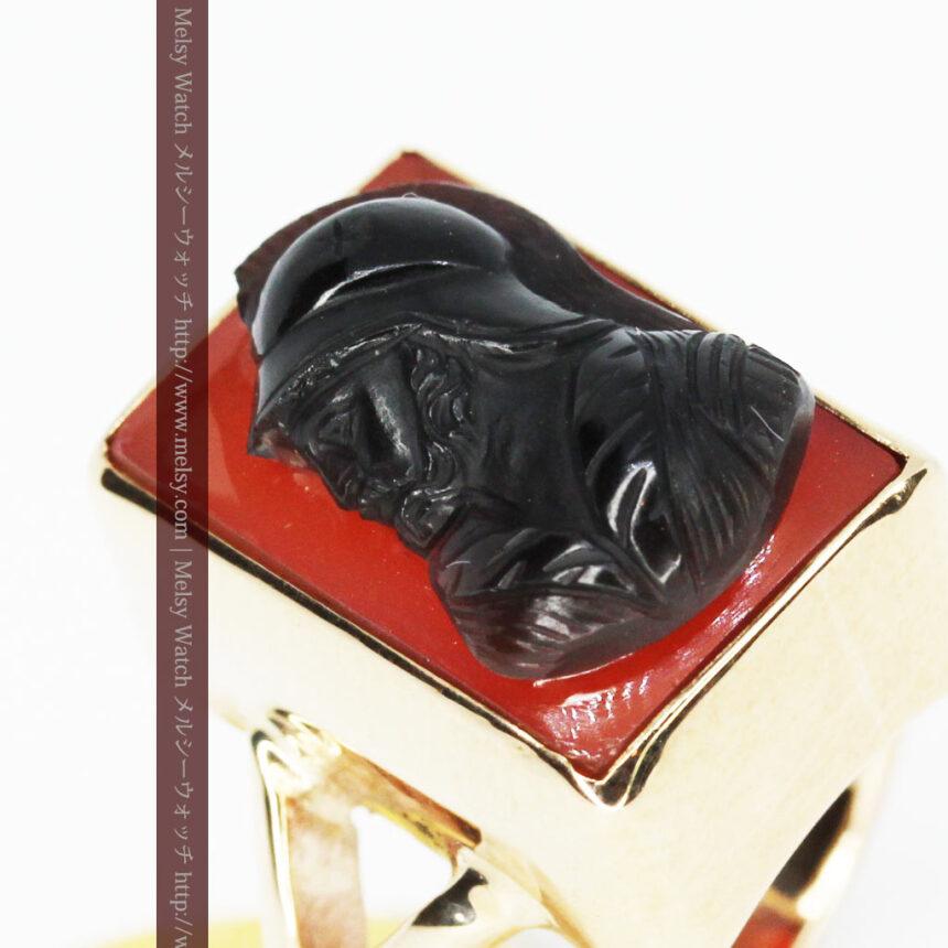 ローマ戦士のカメオの金無垢リング-A0231-6