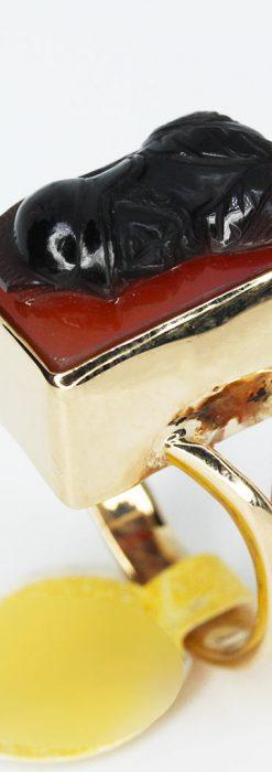 ローマ戦士のカメオの金無垢リング-A0231-7