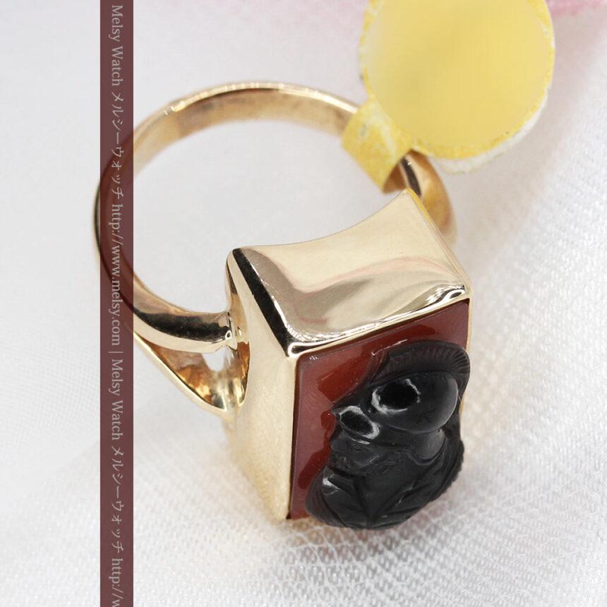 ローマ戦士のカメオの金無垢リング-A0231-8