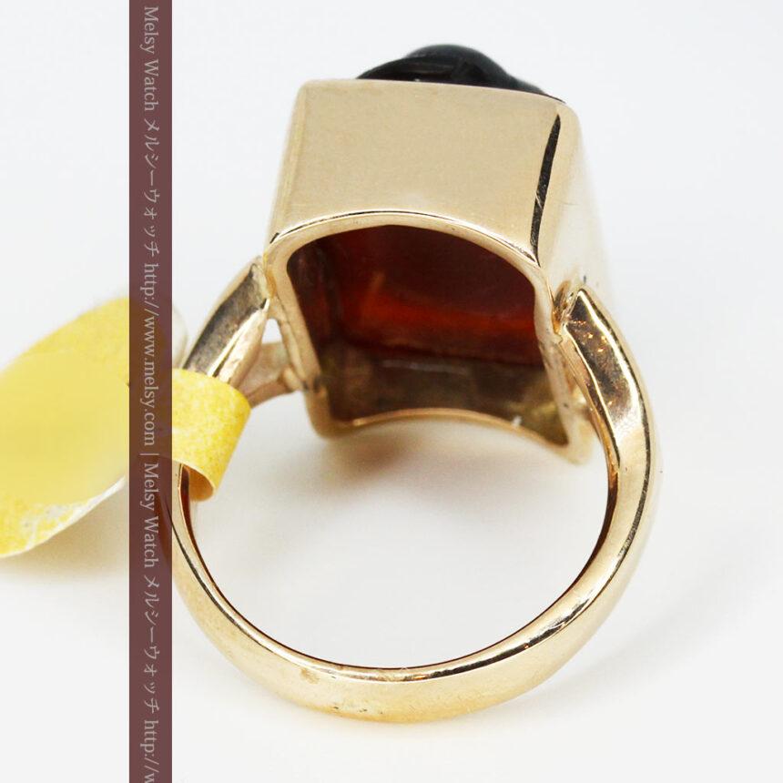 ローマ戦士のカメオの金無垢リング-A0231-9