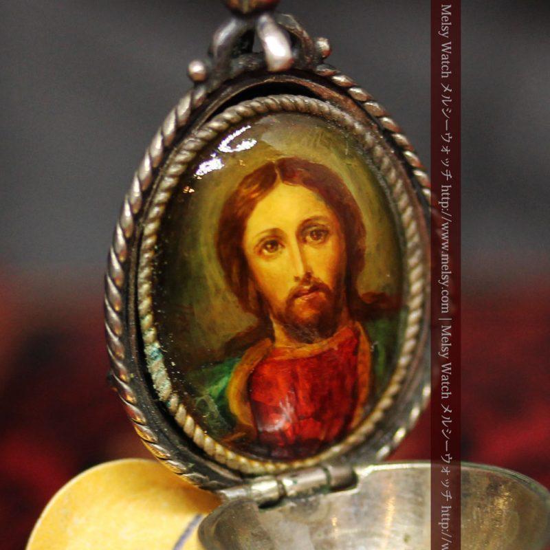 キリストのエナメル画・アンティーク銀無垢祭壇-A0240-1