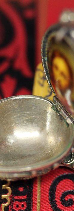 キリストのエナメル画・アンティーク銀無垢祭壇-A0240-10