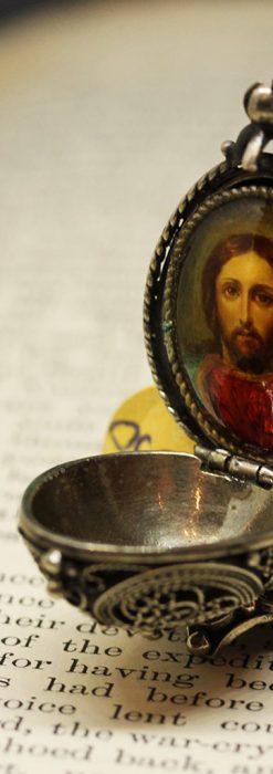 キリストのエナメル画・アンティーク銀無垢祭壇-A0240-2