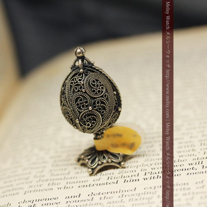 キリストのエナメル画・アンティーク銀無垢祭壇-A0240-4