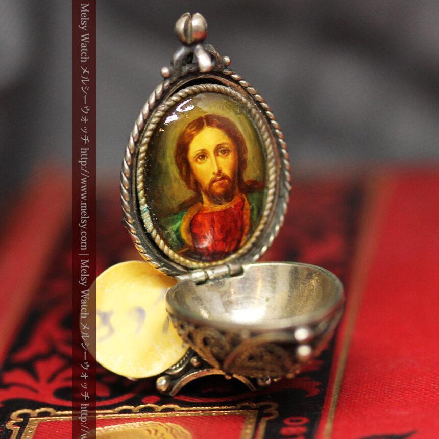 キリストのエナメル画・アンティーク銀無垢祭壇-A0240-6