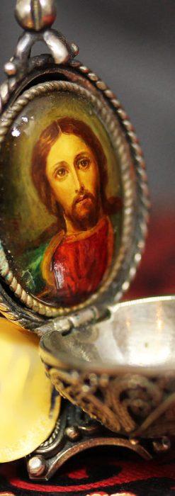 キリストのエナメル画・アンティーク銀無垢祭壇-A0240-7