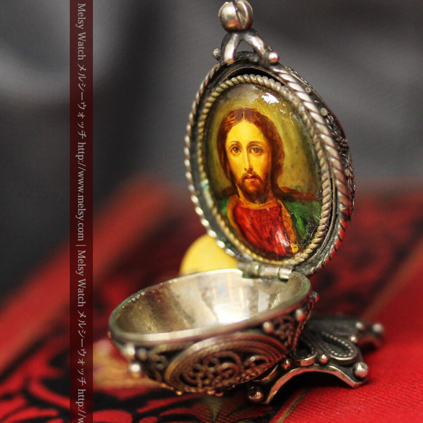 キリストのエナメル画・アンティーク銀無垢祭壇-A0240-8