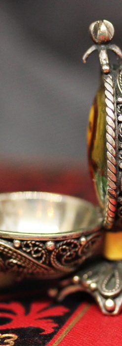 キリストのエナメル画・アンティーク銀無垢祭壇-A0240-9