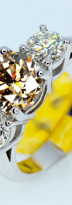 コニャック色大粒ダイヤモンドの18金リング-A0244-1