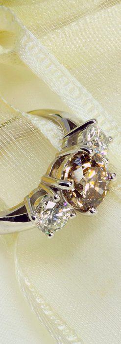 コニャック色大粒ダイヤモンドの18金リング-A0244-2