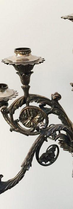 英国ロンドン・ビクトリア朝期の豪華な銀の燭台-A0252-2