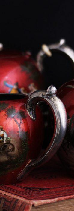 ロシア帝国時代の銀のティーポット3点セット 皇帝御用達モロゾフ製【1900年頃】-A0272-1