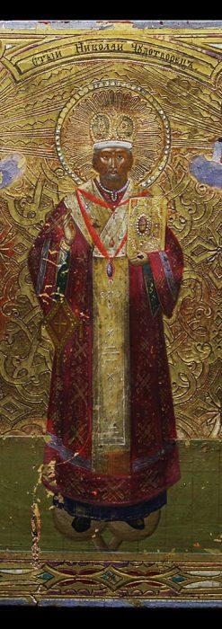 ミラの聖ニコラオ・ニコラウスの木板イコン/聖画像・テンペラ 【19世紀後半のロシア製】-A0274-1