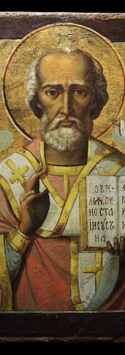 ミラの聖ニコラオ・ニコラウスを描いた木板イコン/聖画像・テンペラ 【19世紀後半のロシア製】-A0275-1
