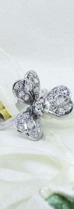 1910年頃の15金アンティークリング・ダイヤモンドの美しい花-A0276-1
