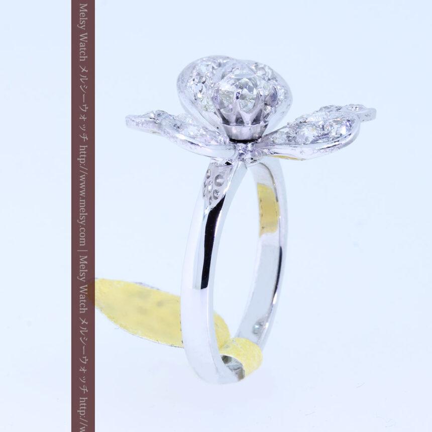 1910年頃の15金アンティークリング・ダイヤモンドの美しい花-A0276-10