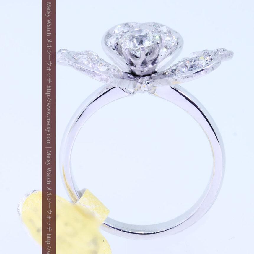 1910年頃の15金アンティークリング・ダイヤモンドの美しい花-A0276-11
