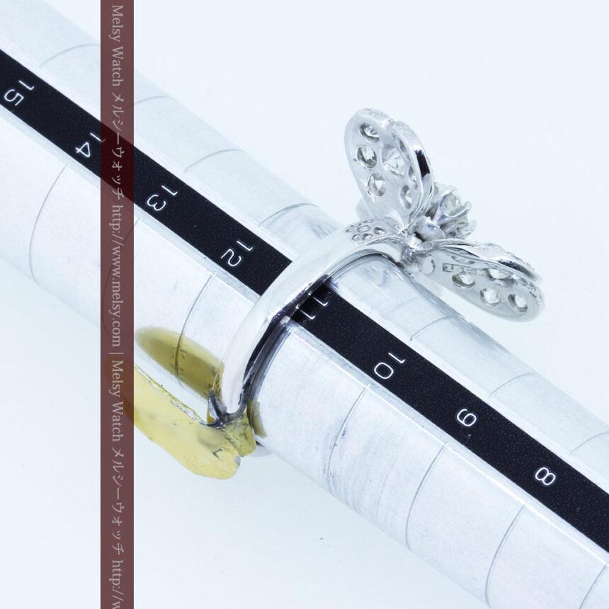 1910年頃の15金アンティークリング・ダイヤモンドの美しい花-A0276-12