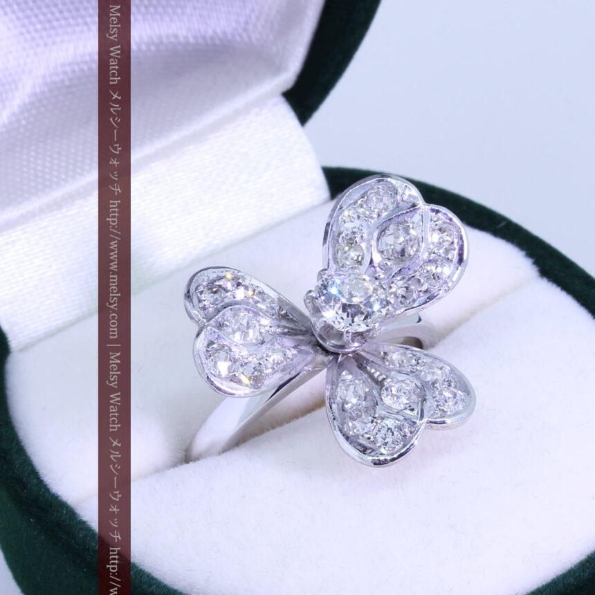1910年頃の15金アンティークリング・ダイヤモンドの美しい花-A0276-2