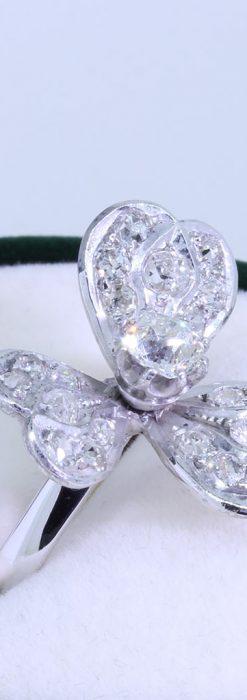 1910年頃の15金アンティークリング・ダイヤモンドの美しい花-A0276-3