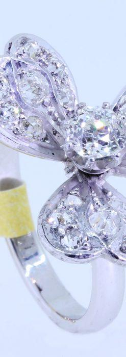 1910年頃の15金アンティークリング・ダイヤモンドの美しい花-A0276-4