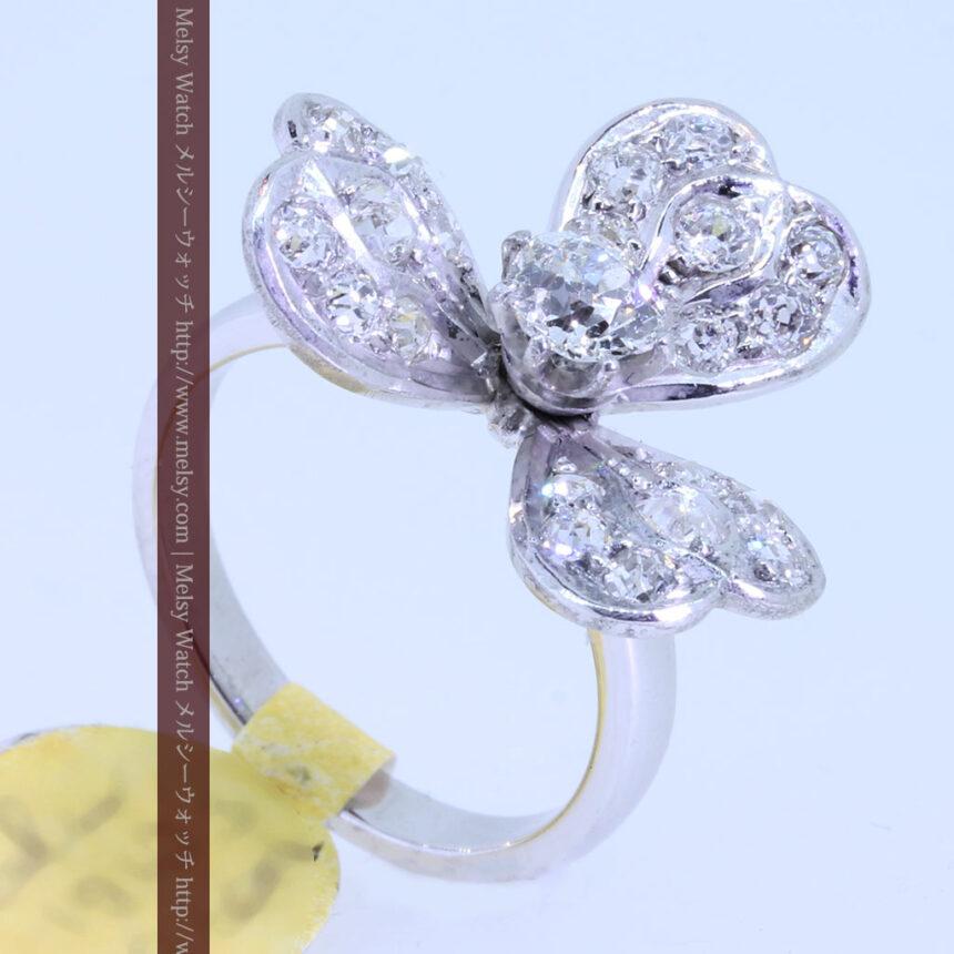 1910年頃の15金アンティークリング・ダイヤモンドの美しい花-A0276-5