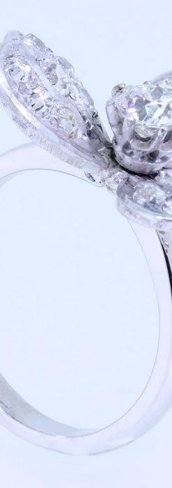 1910年頃の15金アンティークリング・ダイヤモンドの美しい花-A0276-6