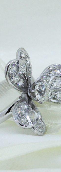 1910年頃の15金アンティークリング・ダイヤモンドの美しい花-A0276-7