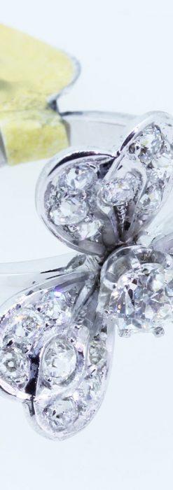 1910年頃の15金アンティークリング・ダイヤモンドの美しい花-A0276-8