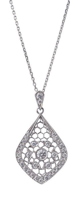 ダイヤモンドとプラチナのペンダント -よみがえる伝承の職人技と造形美-A0294-1