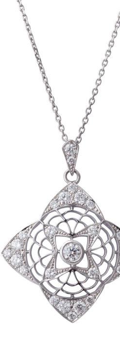 ダイヤモンドとプラチナのペンダント -よみがえる伝承の職人技と造形美-A0296-1