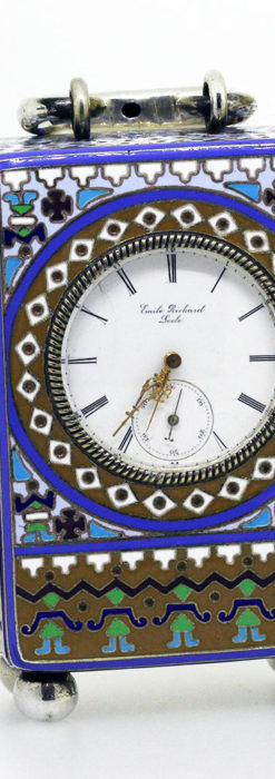 ロシア帝国時代のエナメル装飾された銀の置時計 皇帝御用達モロゾフ製【1860年頃】-A0303-1