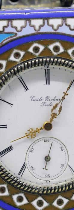 ロシア帝国時代のエナメル装飾された銀の置時計 皇帝御用達モロゾフ製【1860年頃】-A0303-2