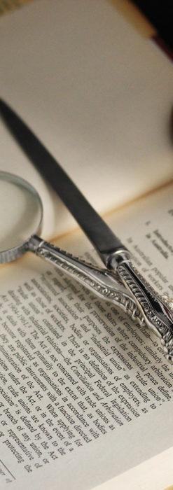 英国の銀製アンティーク虫眼鏡とレターオープナーセット 【1926年頃】-A0305-1
