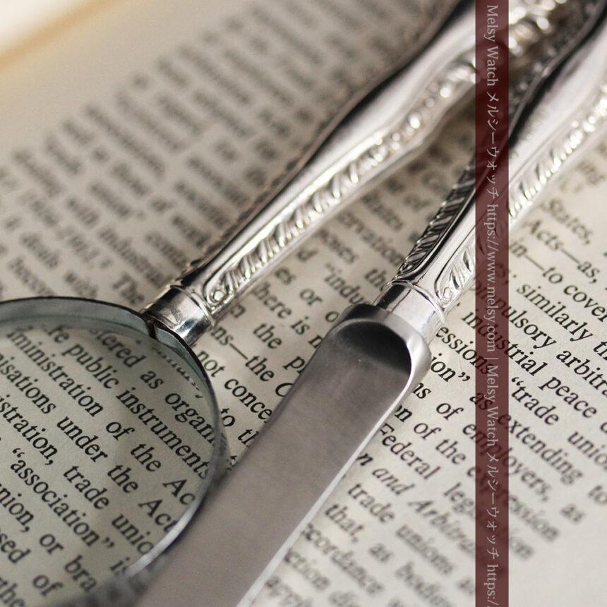 英国の銀製アンティーク虫眼鏡とレターオープナーセット 【1926年頃】-A0305-10